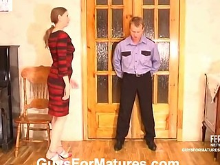 Filthy policeman craving to examine mommy
